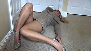 Busty blonde upskirt and panties show